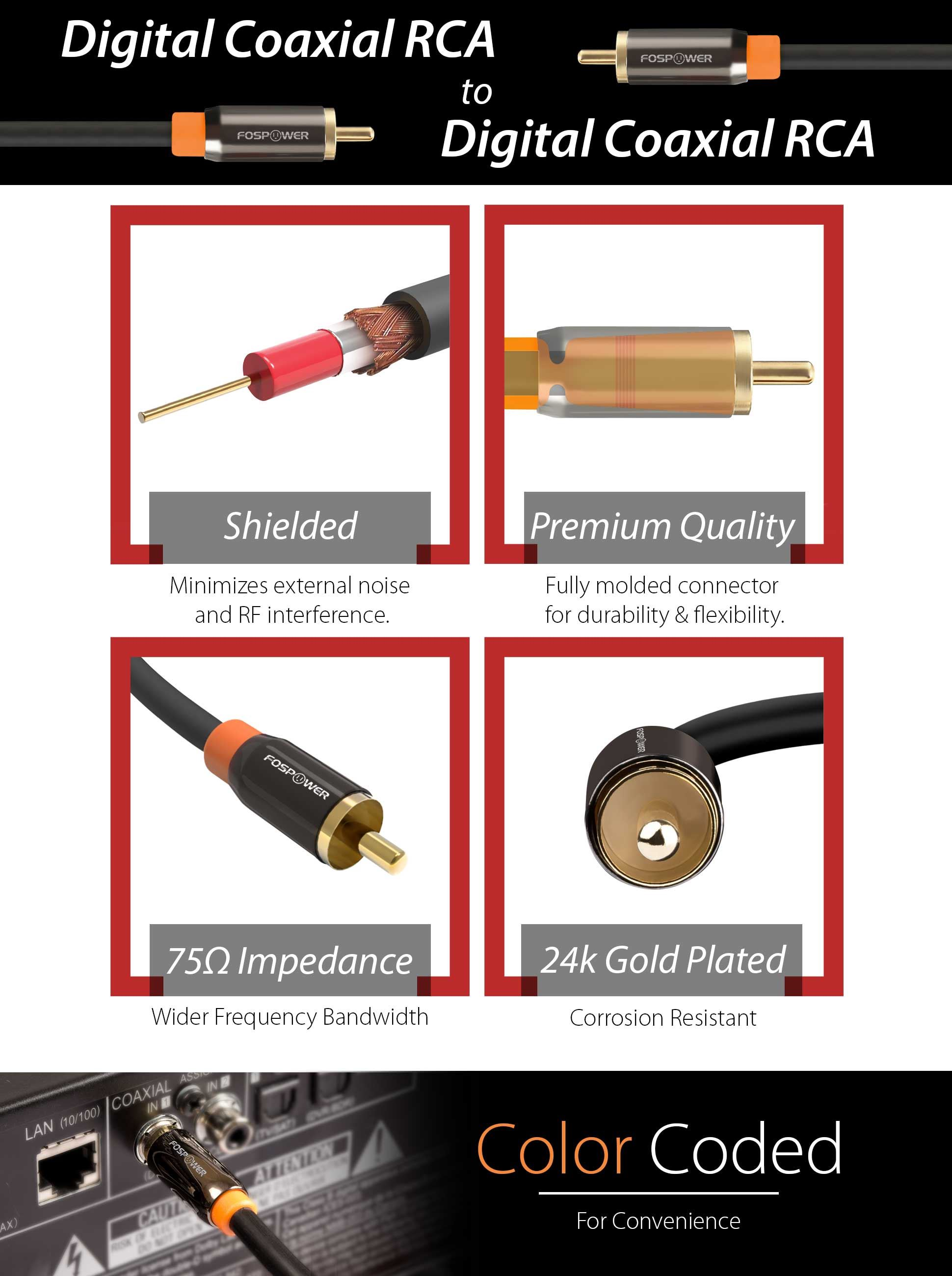 Coaxial Cable Description : Rca male to digital audio coaxial cable